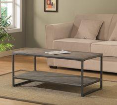 """$193 - 42""""(l) 20""""(w) 18""""(h) - Elements Grey Coffee Table - oak & metal - Overstock"""