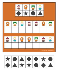 Board and tiles for the South Park visual perception game. By Autismespektrum