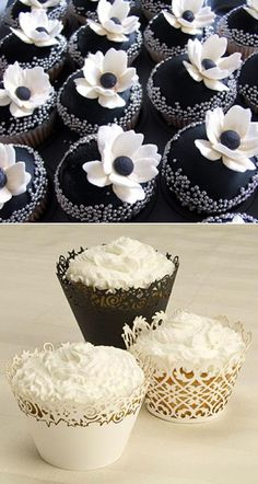 Pretty black & white cupcakes