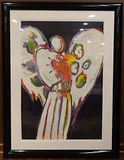 """Peter Max """"Angel with Heart on Black"""" - Serigraph in Color on Paper Signed w/COA"""