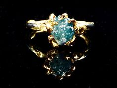 Raw Diamond Engagement Ring Large Blue Natural Diamond Conflict Free Uncut
