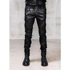 5754a1303d1b Mens Slimfit Heavy Waxed Black Real Biker Jeans at Fabrixquare