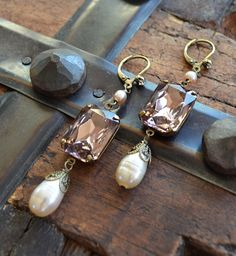 Vintage Rosaline glass and pearl drop assemblage earrings