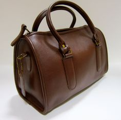 Vintage Coach zip top satchel in chocolate brown leather,