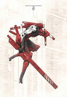 Illustration Robot, Japan, Fine Art. Red, Ninja Character Concept, Concept Art, Character Art, Character Design, Cyberpunk, Science Fiction, Anime, Cool Robots, Mechanical Design