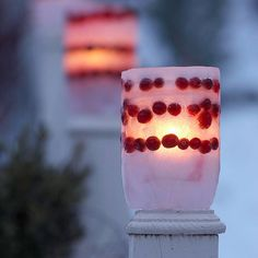 DIY - Illuminated Ice Luminaries Tutorial. Great decoration idea for a holiday party.