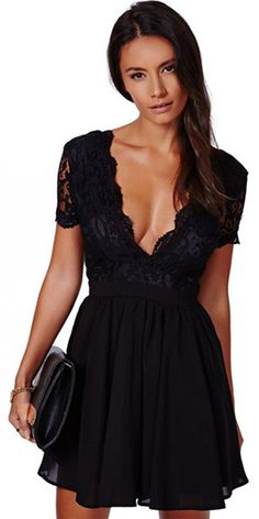 Sexy Backless Deep V-neck Lace Spliced Short Sleeve Dress