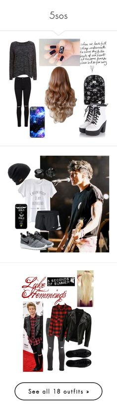 """""""5sos"""" by patrinie ❤ liked on Polyvore featuring OBEY Clothing, Miss Selfridge, rag & bone/JEAN, Samsung, Coal, NIKE, Hot Topic, Topman, VIPARO and Converse"""
