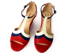 Sandalia de cuero rojo azul y blanco por QuieroJune en Etsy, $215.00