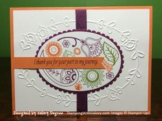 Stampin' Up! Paisleys & Posies stamp set, Pretty Paisleys embossing folder, Layering Ovals Framelits dies, Very Vanilla, Pumpkin Pie, Rich Razzleberry and Old Olive cardstock, ribbon and inks.