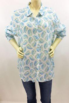17a52d0f J Jill Love Linen Blue Paisley Button Down Shirt Long Sleeve 100% Linen Size  XL
