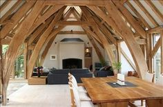 oak-framed living room in Barn House overlooking river in Devon (photo… Timber Frame Homes, Timber House, Timber Frames, Cottage Design, House Design, Le Ranch, Oak Framed Buildings, Oak Frame House, Contemporary Barn