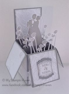 Marry Me, Label Love, Artisan Label punch, Elegant Lines embossing folder wedding card in a box