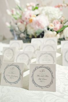 Pretty design used throughout ~ invitations, escort cards, menu, table numbers, programs, etc. Photography by jnicholsphoto.com / via http://StyleMePretty.com/texas-weddings/2012/04/13/san-antonio-wedding-at-the-southwest-school-of-art-by-the-nichols/