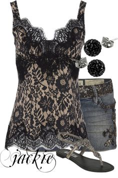 """""""Lace Cami and Shorts"""" by jackie22 ❤ liked on Polyvore"""