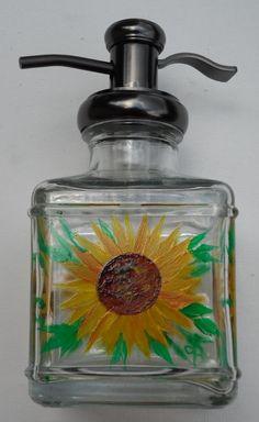 Sunflower Soap Dispenser Hand Painted Sunflower Lotion Soap Dispenser