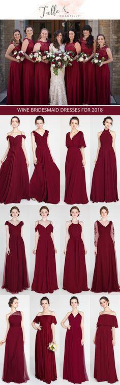 wine bridesmaid dresses for 2018 trends #bridalparty #bridesmaiddress #weddingcolors #redwedding