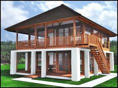 Awesome Wooden Exterior Home Design Ideas Trend All The Year Bamboo House Design, Tropical House Design, House Front Design, Tropical Houses, Thai House, Asian House, Rest House, House In The Woods, Modern Wooden House