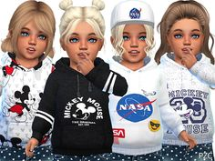 -Mickey hoodies available in 4 designs. Found in TSR Category 'Sims 4 Toddler Female' Sims 4 Toddler Clothes, Sims 4 Cc Kids Clothing, Toddler Boy Outfits, Kids Outfits, Toddler Fashion, Toddler Girls, Girl Fashion, Boy Clothing, Children Clothing