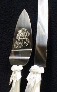DISNEY Beauty & the Beast Wedding Cake Topper LOT Glasses SET knife
