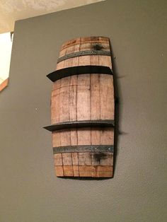 Repurposed Wine Barrel Wall Shelf by PacificElements on Etsy Whiskey Barrel Decor, Wine Barrel Crafts, Bourbon Barrel, Whiskey Barrels, Wine Bottle Rack, Wine Bottles, Wine Rack, Barrel Projects, Wine Barrel Furniture