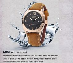 Men Quartz Watch Nubuck-leather Strap Wristwatch with Date Display ==