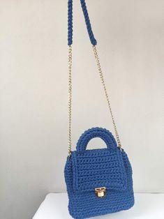 Macaron bag Crossbody bag Shoulder bag Day bag Blue bag   Etsy Yarn Bag, Blue Shoulder Bags, Handmade Items, Handmade Gifts, Blue Bags, Macarons, Straw Bag, Crossbody Bag, Trending Outfits
