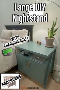 Large Nightstand with Charging Shelf Rogue Engineer. Large Nightstand with Charging Shelf Rogue Engineer. Click The Link For See Furniture Projects, Furniture Makeover, Diy Furniture, Furniture Makers, Large Furniture, Furniture Plans, Wood Projects, Furniture Design, Diy Wall Art