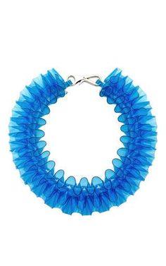 Blue PVC Ruffle Collar Necklace by Mary Katrantzou Now Available on Moda Operandi