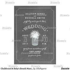 Chalkboard & Baby's Breath Mason Jar Wedding Card