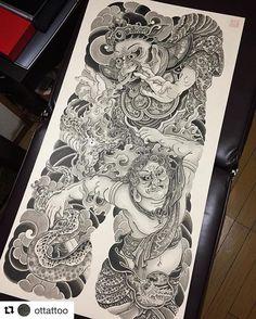迦楼羅 不動 Sumi ink on Washi paper. Chinese Tattoo Designs, Japanese Tattoo Art, Japanese Sleeve Tattoos, Japanese Art, Tattoo Outline Drawing, Doodle Tattoo, Backpiece Tattoo, Irezumi Tattoos, Tattoo Studio