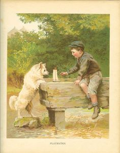Vintage Edwardian 1900s Ernest Nister Childrens Print Boy And White Dog Sail Boat In Horse Trough Antique Colour Bookplate: