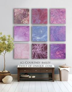Dark Abstract Paintings, CUSTOM  9 square Abstract painting , Large abstract painting, -Purple, blue, gray, green