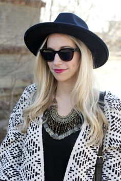 Fedora, sunglasses and a statement necklace: http://www.stylemepretty.com/living/2015/02/05/boho-fashion-two-ways/ | Photography: Fashion Column Twins - http://fashioncolumntwins.com/