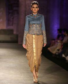 Embroidered Powder Blue Short Jacket with Dhoti Pant - Anju Modi