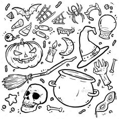 Buy Doodle Halloween by whendies on GraphicRiver. Happy Halloween, this Halloween doodle was specially made by ghosts. Scary sketches that fit your Halloween day, ther. Doodle Halloween, Theme Halloween, Halloween Drawings, Pop Culture Halloween Costume, Halloween Skull, Cute Halloween, Halloween Clay, Doodle Drawings, Doodle Art