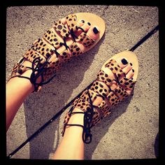 skye gladiator sandals in cheetah haircalf