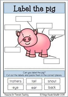 Farm animals labelling activity.  #farmtheme #farmanimals #cow #pig #goat #sheep #chicken #goose #horse