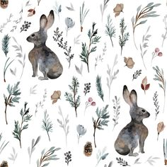 Woodland Bunnies // White custom fabric by hipkiddesigns for sale on Spoonflower Boston Terrier, Bunny Blanket, Toddler Blanket, Childrens Lamps, Doodle, Easter Fabric, Adventure Nursery, Baby Lovey, Woodland Nursery