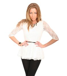 Leona 3/4 Sleeve Lace Peplum Top with Belt in Cream MODEL