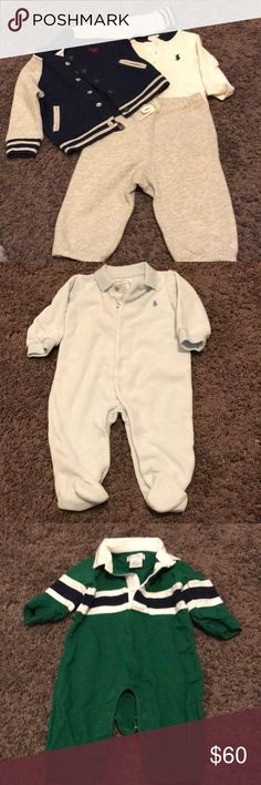 Three Ralph Lauren Baby Outfits One outfit consist of: A jacket, shirt and jogging pants, the second outfit is a soft baby blue long sleeve onesie and third is a green outfit that's a all in one. Ralph Lauren Matching Sets