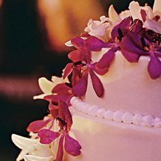 White Wedding Cake with Purple Orchids - Wedding Cake