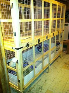#DIY housing suggestions for rabbits. I especially like the large 2-story wooden cage; you could put a divider down the center and have 4 -4ft X 3ft' cages. I will definitely come back to this cage design when building the next cages.