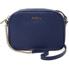 Furla Milky Mini Saffiano Leather Crossbody ($115) ❤ liked on Polyvore featuring bags, handbags, shoulder bags, blue crossbody handbag, mini crossbody purse, furla purses, crossbody handbags and crossbody shoulder bags