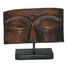 Wood Buddha Plaque on Stand