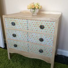 A 1960s chest of drawers for my sewing room...pale cream chalk paint, finished with Annie Sloan dark wax. Drawers decoupaged with Cath Kidston napkins!