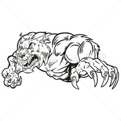 Mascot Clipart Image of Black White Bobcats Wildcats Graphic Mean Vicious