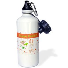 3dRose wb_180879_1 Easter Egg Bunny Rabbit with Flowers on Dots Orange Peach and Green Sports Water Bottle 21 oz White *** Visit the image link more details.