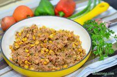 Carne de jaca verde com milho #receita #vegana #vegetariana #vegan #veganismo
