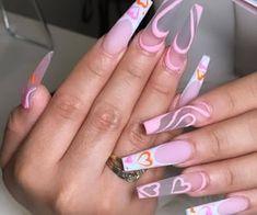 Drip Nails, Bling Acrylic Nails, Acrylic Nails Coffin Short, Summer Acrylic Nails, Best Acrylic Nails, Pink Nails, Light Pink Acrylic Nails, Matte Pink, Pastel Nails